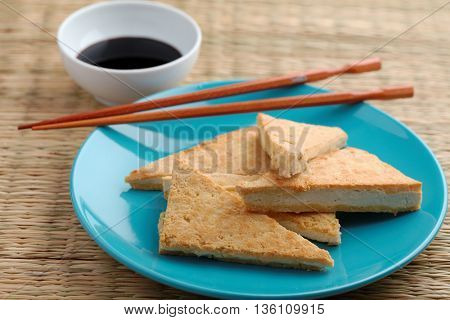 Roasted tofu with soy sauce