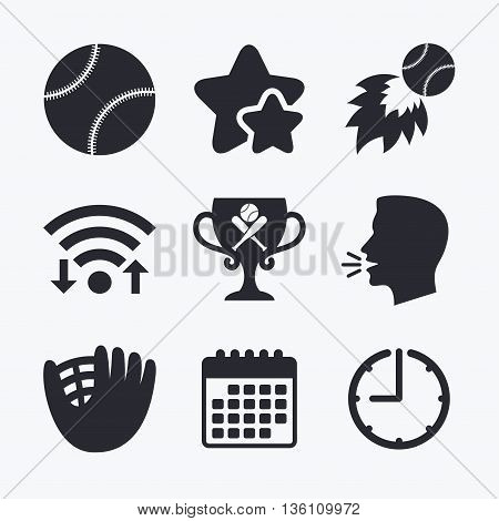 Baseball sport icons. Ball with glove and two crosswise bats signs. Fireball with award cup symbol. Wifi internet, favorite stars, calendar and clock. Talking head. Vector