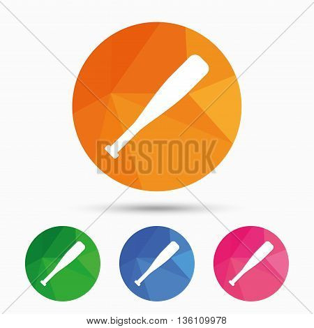 Baseball bat sign icon. Sport hit equipment symbol. Triangular low poly button with flat icon. Vector