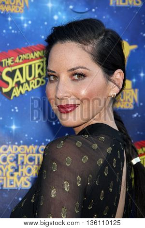 Olivia Munn arrives at the 42nd Annual Saturn Awards on Wednesday, June 22, 2016 at the Castaway Restaurant in Burbank, CA.