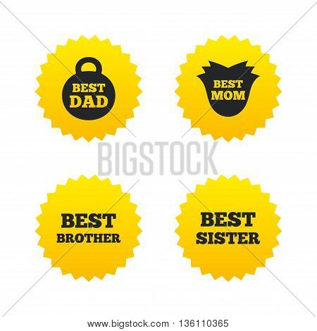 Best mom and dad, brother and sister icons. Weight and flower signs. Award symbols. Yellow stars labels with flat icons. Vector