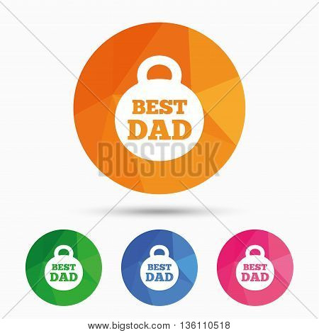 Best dad sign icon. Award weight symbol. Triangular low poly button with flat icon. Vector