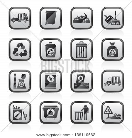 Garbage, cleaning and rubbish icons - vector icon set