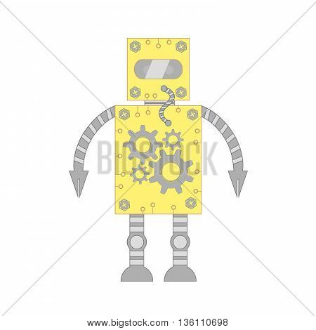 The robot assistant and employee of yellow color on a white background.