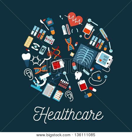 Healthcare and medical check up symbols arranged in a shape of a pill with flat icons of stethoscopes and thermometers, dentist instruments and teeth, test tubes and microscopes, medication bottles and blood bags, pills, heart and dna, blood pressure mach