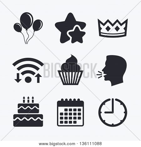 Birthday crown party icons. Cake and cupcake signs. Air balloons with rope symbol. Wifi internet, favorite stars, calendar and clock. Talking head. Vector
