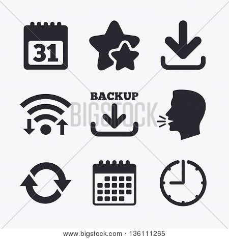 Download and Backup data icons. Calendar and rotation arrows sign symbols. Wifi internet, favorite stars, calendar and clock. Talking head. Vector