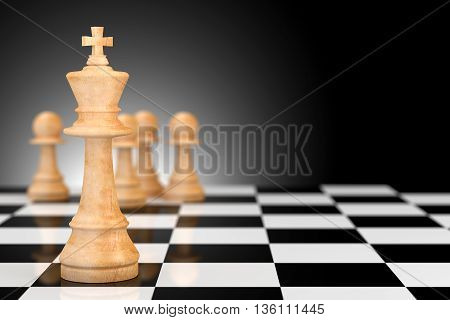 Leadership Concept In Business, Chess 3D Rendering