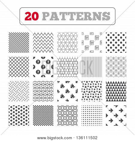 Ornament patterns, diagonal stripes and stars. Question mark and puzzle piece icons. Document file and next arrow sign symbols. Geometric textures. Vector