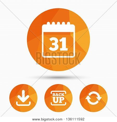 Download and Backup data icons. Calendar and rotation arrows sign symbols. Triangular low poly buttons with shadow. Vector