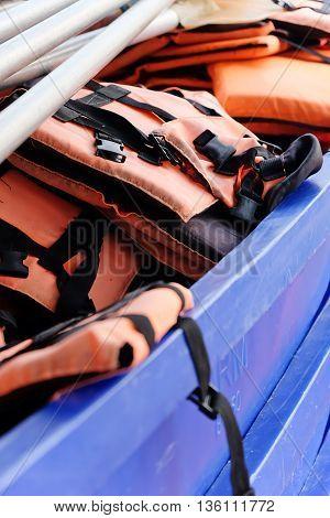 close up image of Life vest on boat
