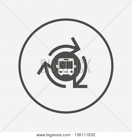 Bus shuttle icon. Public transport stop symbol. Flat bus shuttle icon. Simple design bus shuttle symbol. Bus shuttle graphic element. Round button with flat bus shuttle icon. Vector