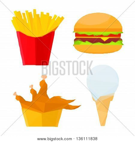 Low poly stylized geometric cheeseburger with fresh vegetables, deep fried chicken and french fries in paper cups, melted vanilla ice cream cone icons. Great for fast food restaurant menu or interior design