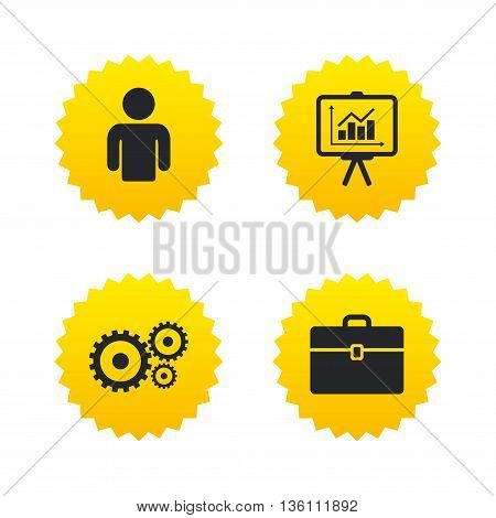Business icons. Human silhouette and presentation board with charts signs. Case and gear symbols. Yellow stars labels with flat icons. Vector