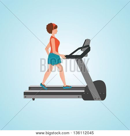 Young adult woman running on treadmill sport fitness athletics healthy lifestyle. Cartoon character Vector illustration.