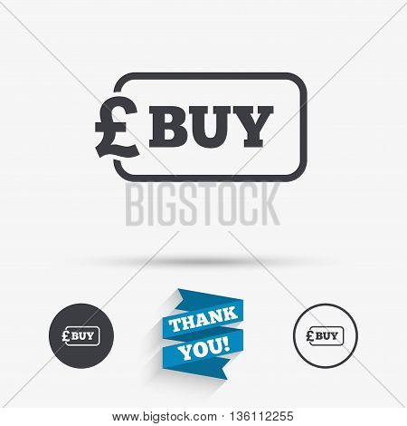 Buy sign icon. Online buying Pound gbp button. Flat icons. Buttons with icons. Thank you ribbon. Vector