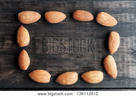 Almonds Arranged In Rectangle With Copy Space