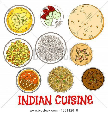 Traditional indian vegetarian thali sketch icon served with flatbread, fried and steamed rice, tomato chutney with garlic and various of curry with beans, yogurt and vegetables, lentil and spicy herbs