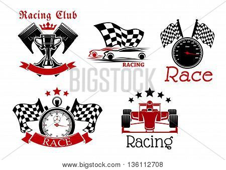 Sporting racing cars, speedometer and stopwatch with racing flags, champion trophy cup with crossed pistons on the background icons for racing club or motorsport competition design adorned by ribbon banners, stars and crown