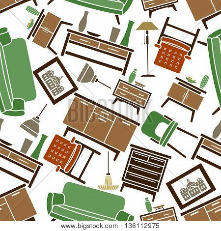 Seamless green and brown soft and cabinet furniture with accessories pattern background for home interior design with sofas and armchairs, chests of drawers and bedside tables, vases, lamps and pictures
