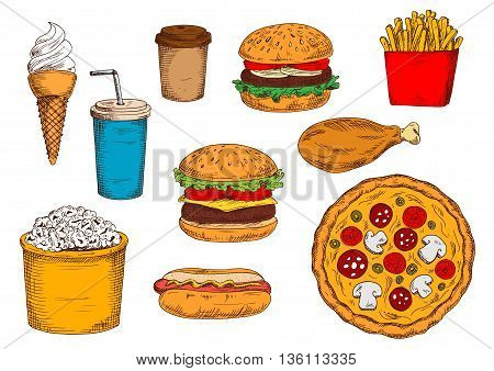 Hamburger and cheeseburger with soda, hot dog and pizza with coffee, paper boxes of french fries and popcorn, chicken leg and ice cream cone sketch icons for fast food restaurant design