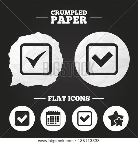 Crumpled paper speech bubble. Check icons. Checkbox confirm squares sign symbols. Paper button. Vector
