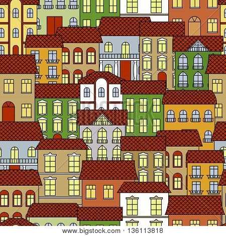 Colorful seamless old town cityscape pattern background for traveling and architecture themes design with vintage house facades and brown ceramic roofs, forged balcony balustrades and figured columns