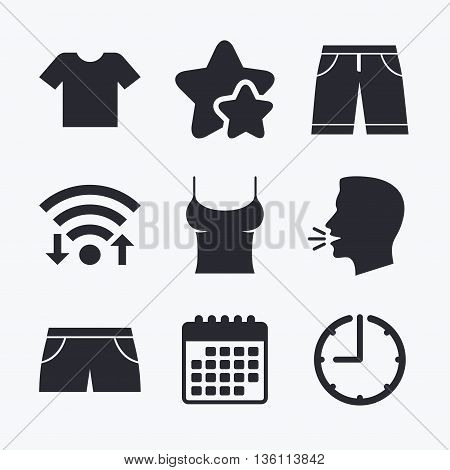 Clothes icons. T-shirt and bermuda shorts signs. Swimming trunks symbol. Wifi internet, favorite stars, calendar and clock. Talking head. Vector