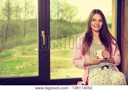 Beautiful Woman Drinking Morning Coffee.