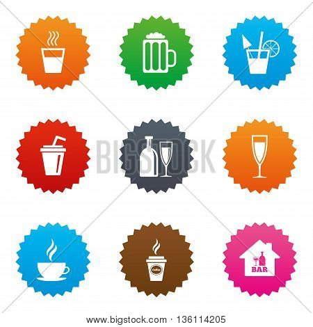 Cocktail, beer icons. Coffee and tea drinks. Soft and alcohol drinks symbols. Stars label button with flat icons. Vector