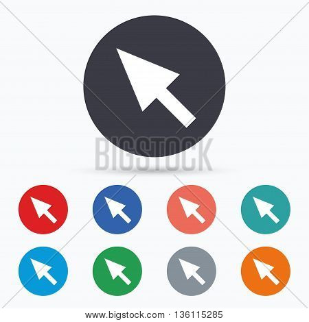 Mouse cursor sign icon. Pointer symbol. Flat cursor icon. Simple design cursor symbol. Cursor graphic element. Circle buttons with cursor icon. Vector