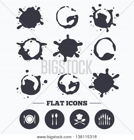 Paint, coffee or milk splash blots. Plate dish with forks and knifes icons. Chief hat sign. Crosswise cutlery symbol. Dessert fork. Smudges splashes drops. Vector