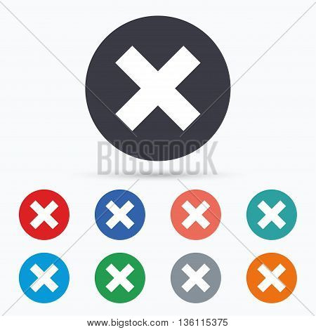 Delete sign icon. Remove button. Flat remove icon. Simple design remove symbol. Remove graphic element. Circle buttons with remove icon. Vector