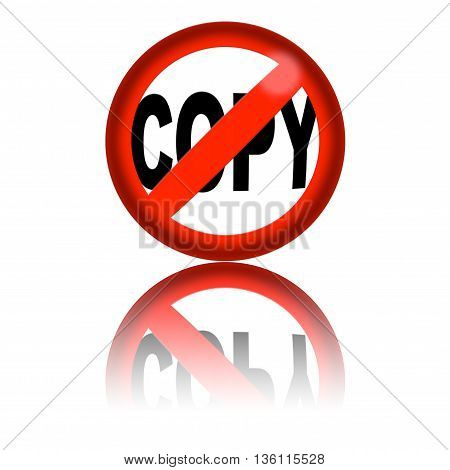 No Copy Sign 3D Rendering