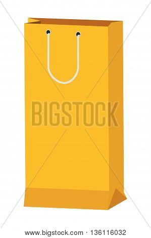 flat design yellow shopping bag with handle icon vector illustration