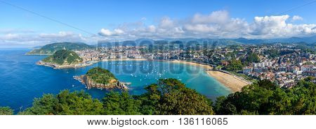 Panoramic view of San Sebastian in the Basque Country, Spain