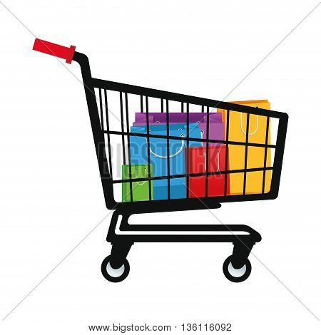 flat design shopping cart with bags inside vector illustration