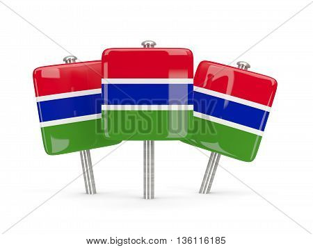 Flag Of Gambia, Three Square Pins