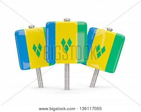 Flag Of Saint Vincent And The Grenadines, Three Square Pins