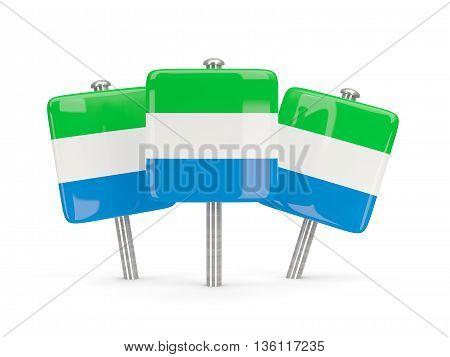 Flag Of Sierra Leone, Three Square Pins