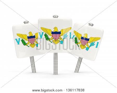 Flag Of Virgin Islands Us, Three Square Pins