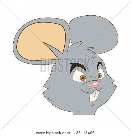 flat design face of mouse cartoon vector illustration