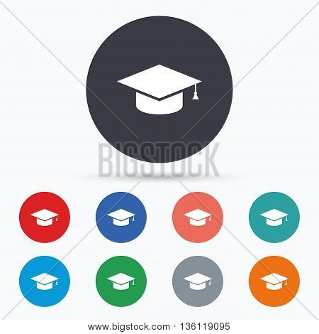 Graduation cap sign icon. Education symbol. Flat education icon. Simple design education symbol. Education graphic element. Circle buttons with education icon. Vector