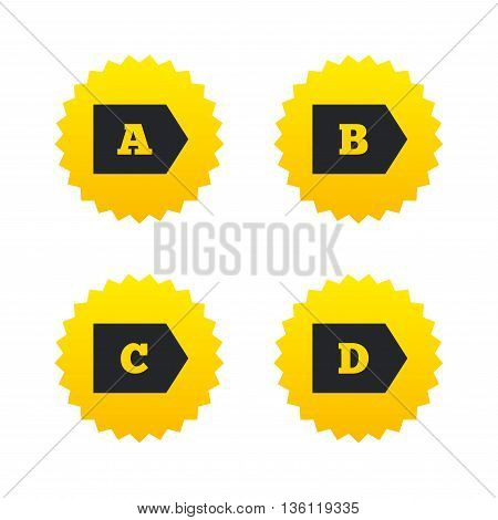 Energy efficiency class icons. Energy consumption sign symbols. Class A, B, C and D. Yellow stars labels with flat icons. Vector