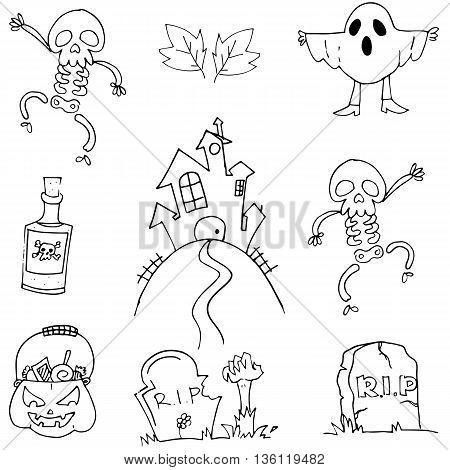 Flat doodle Halloween element vector art illustration