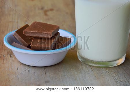 chocolate on little cup eat with milk