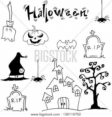 Halloween set castle hat pumpkins tomb illustration
