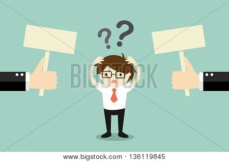 Business concept, Businessman confused about two choices. Vector illustration.