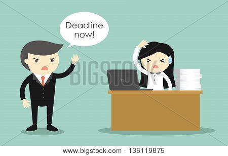 Business concept, Business woman stressed about deadline. Deadline concept.