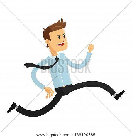 flat design office worker running vector illustration